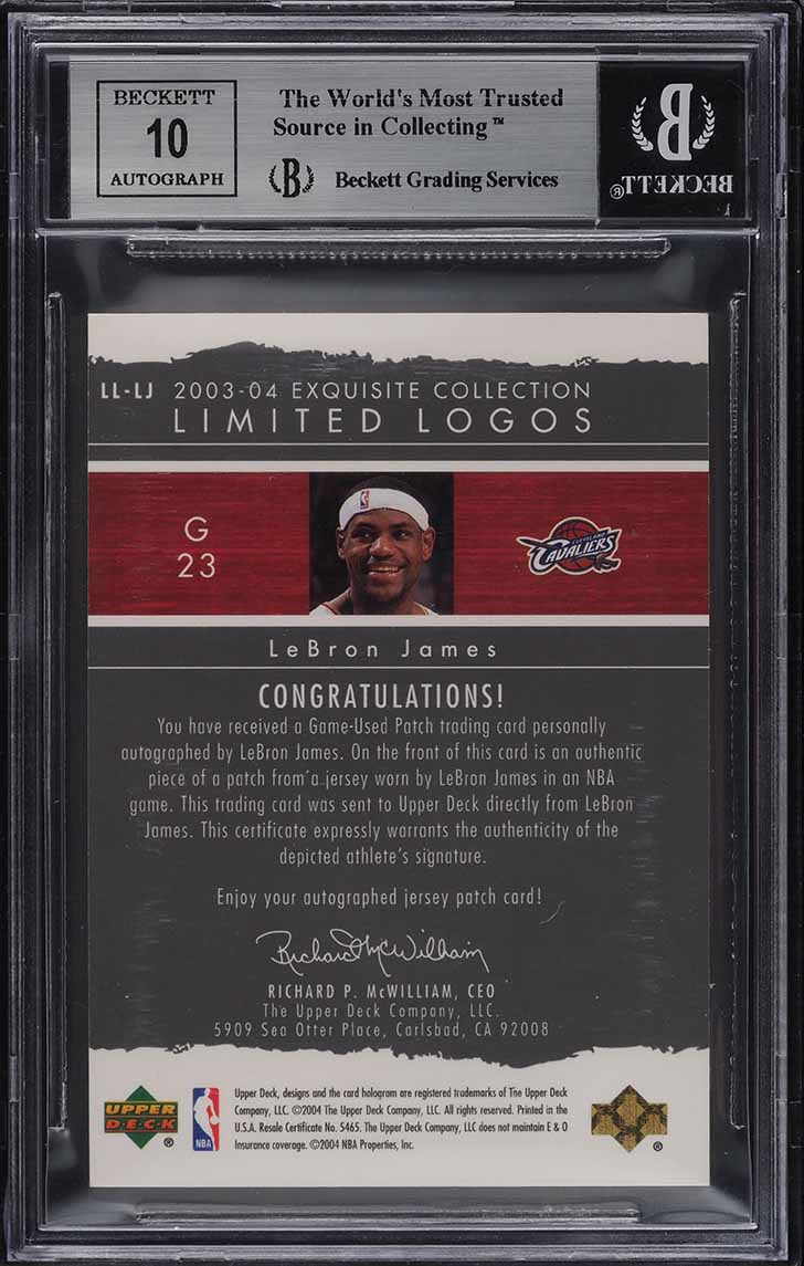 2003 Exquisite Collection Limited LeBron James RC PATCH AUTO /75 BGS 9 MT (PWCC) - Image 2