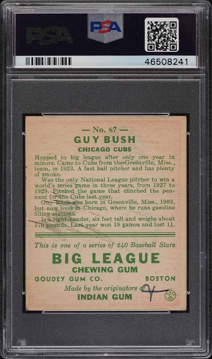 1933 Goudey Guy Bush PSA/DNA 5 AUTO #67 PSA 5(mk) EX - Image 2