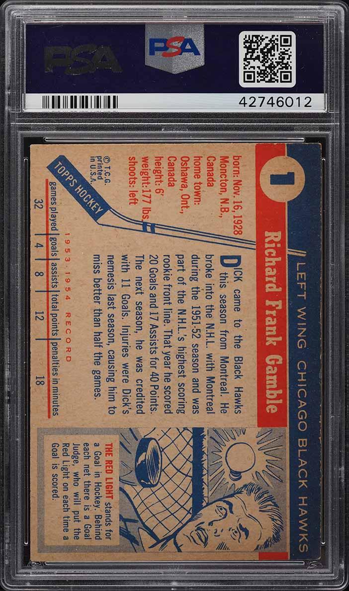 1954 Topps Hockey Dick Gamble #1 PSA 6 EXMT - Image 2