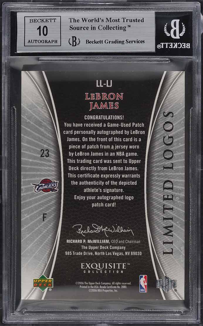 2005 Exquisite Collection Limited Logos LeBron James PATCH AUTO /50 BGS 8.5  - Image 2