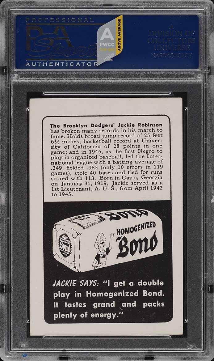 1947 Bond Bread Jackie Robinson PORTRAIT, ROOKIE RC PSA 6 EXMT (PWCC-A) - Image 2