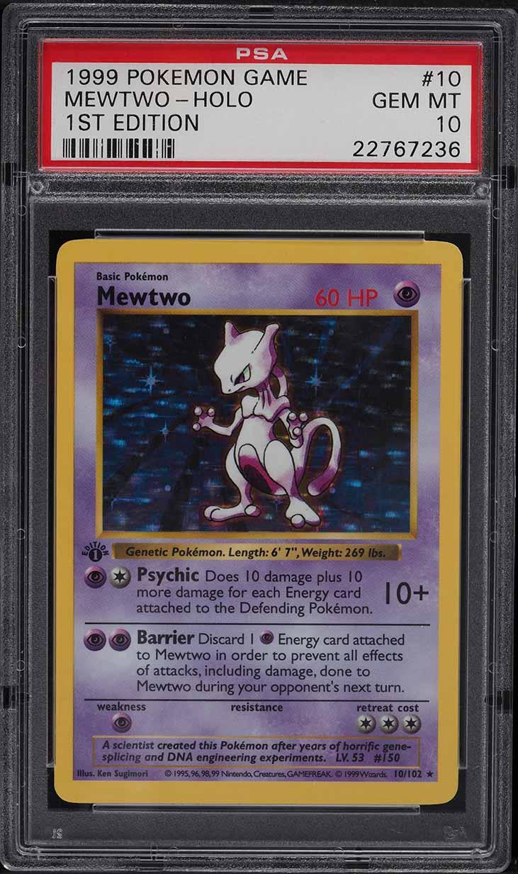 1999 Pokemon Base Set 1st Edition Shadowless Holo Mewtwo #10 PSA 10 GEM MINT - Image 1