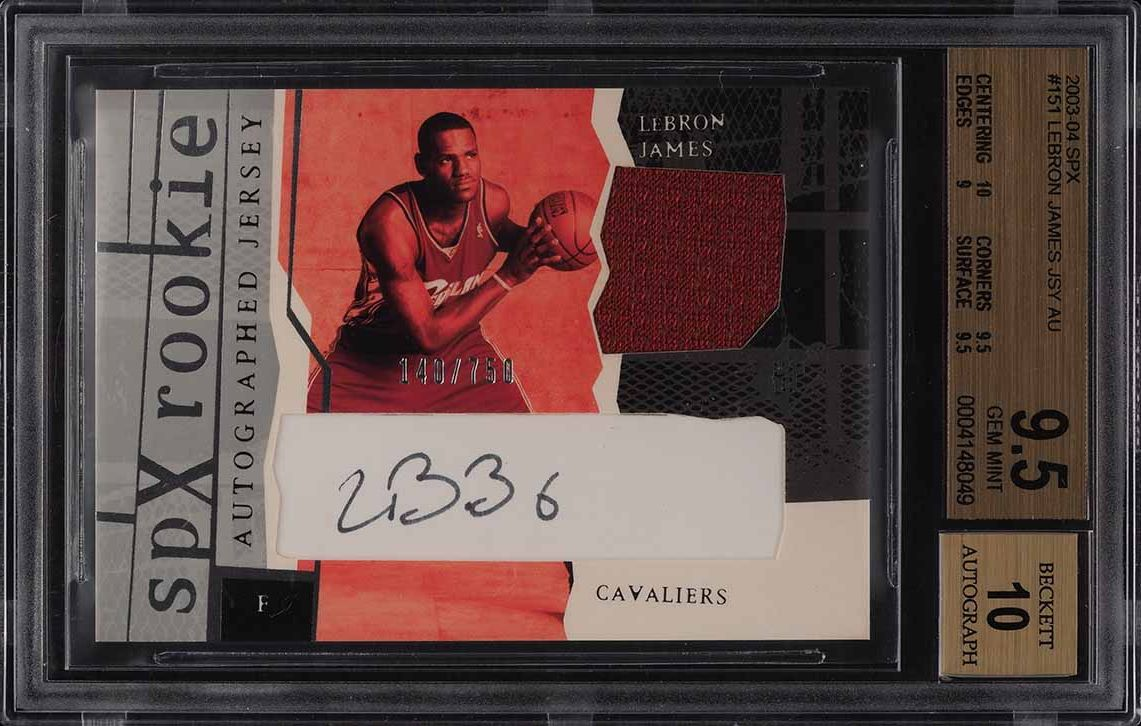 2003 SPx Basketball LeBron James ROOKIE RC PATCH AUTO /750 #151 BGS 9.5 GEM MINT - Image 1