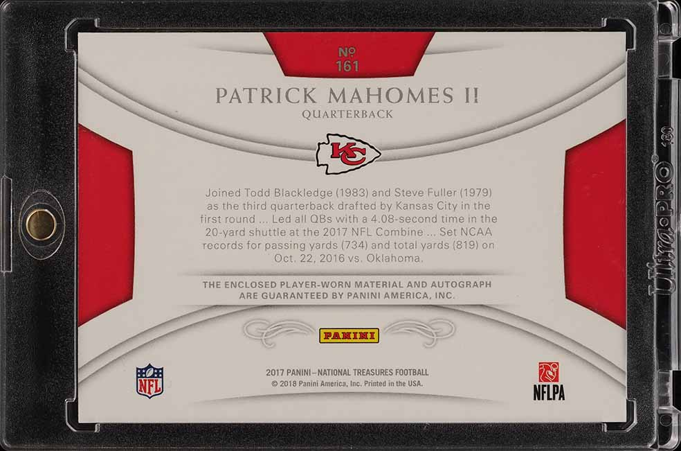 2017 National Treasures S & S Patrick Mahomes II ROOKIE RC AUTO PATCH /13 (PWCC) - Image 2