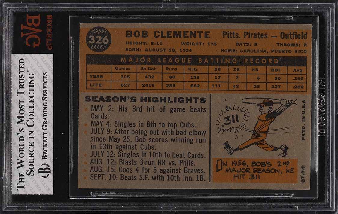 1960 Topps Roberto Clemente #326 BVG 7.5 NRMT+ - Image 2