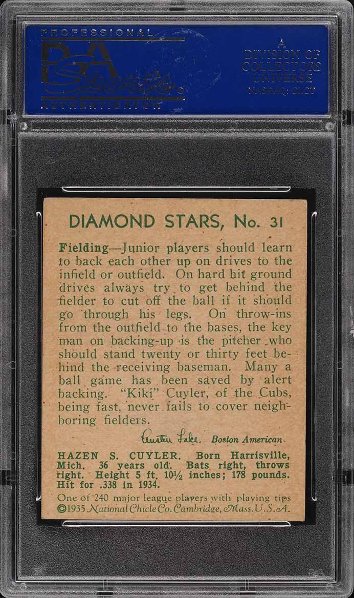 1935 Diamond Stars Kiki Cuyler #31 PSA 6 EXMT - Image 2