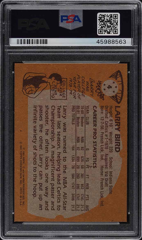 1981 Topps Basketball Larry Bird #4 PSA 9 MINT (PWCC) - Image 2