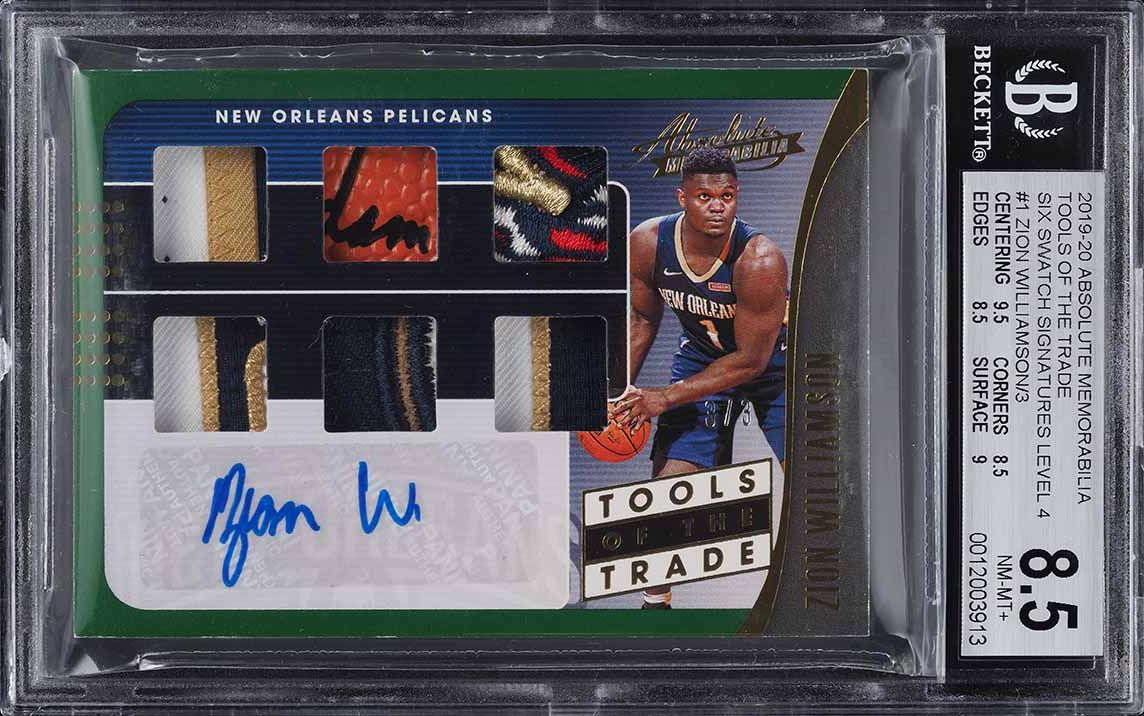 2019 Absolute TOTT Six Level 4 Zion Williamson ROOKIE RC PATCH AUTO /3 BGS 8.5 - Image 1