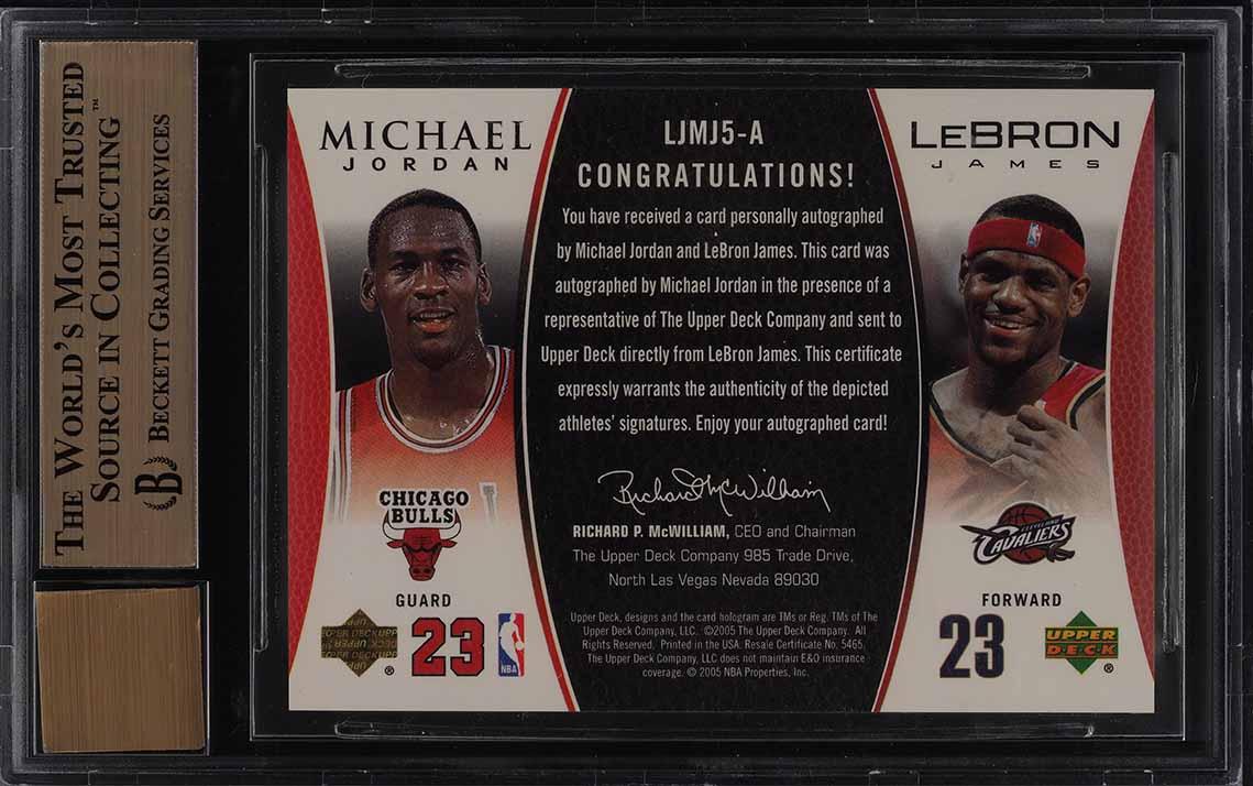 2005 UD MJ/LJ Gold Michael Jordan & LeBron James AUTO 1/1 #MJLJ5 BGS 9.5 (PWCC) - Image 2