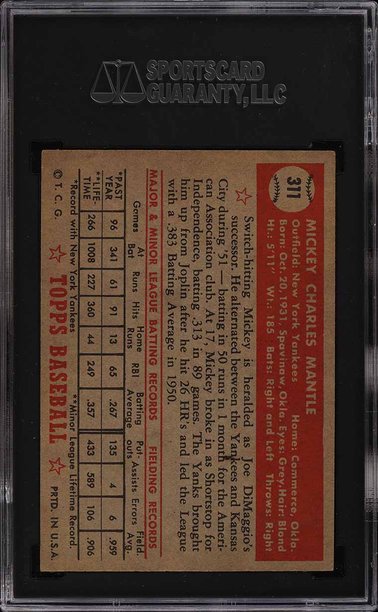 1952 Topps Mickey Mantle #311 SGC 5.5 EX+ (PWCC) - Image 2