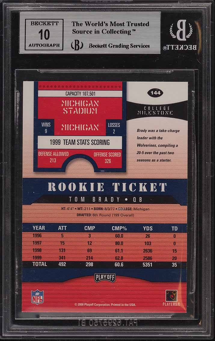 2000 Playoff Contenders Tom Brady ROOKIE RC AUTO #144 BGS 9 MINT - Image 2