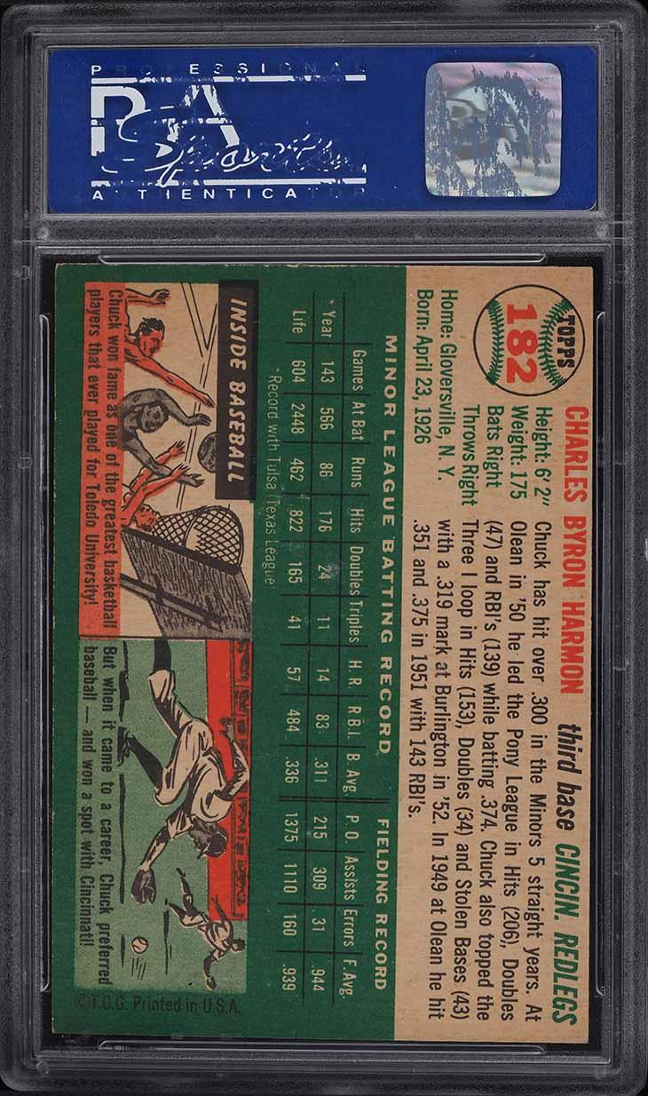 1954 Topps Chuck Harmon #182 PSA 8 NM-MT - Image 2