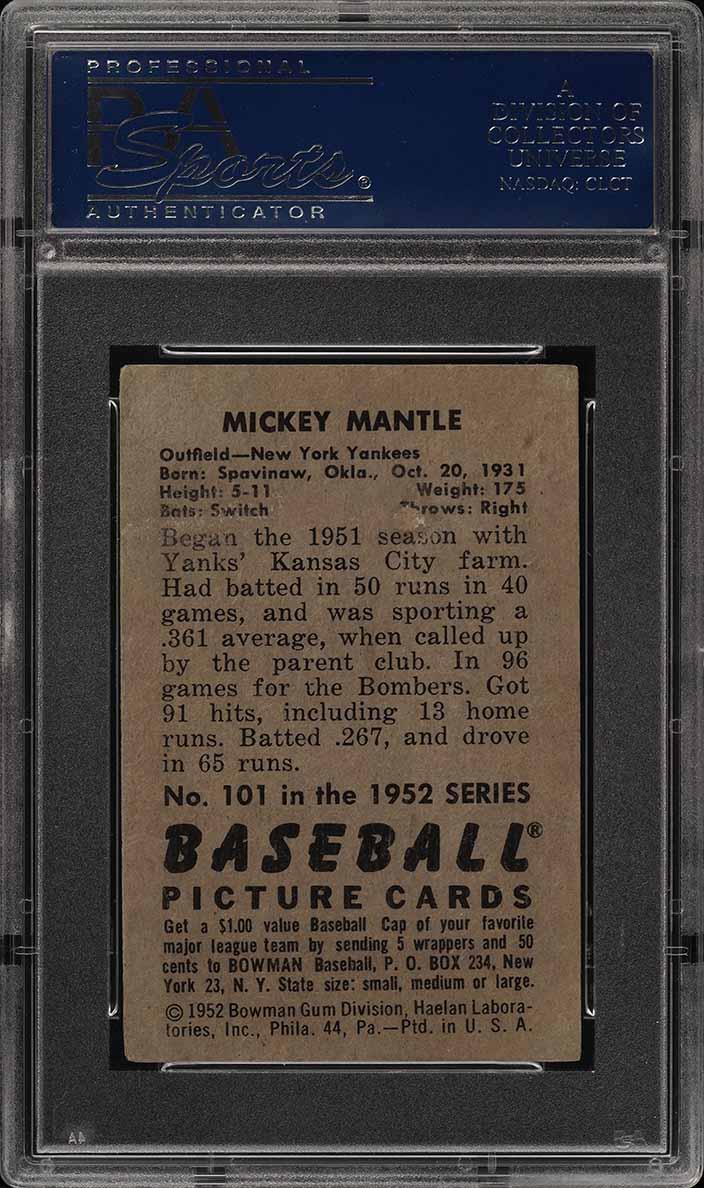1952 Bowman Mickey Mantle #101 PSA 3 VG (PWCC) - Image 2