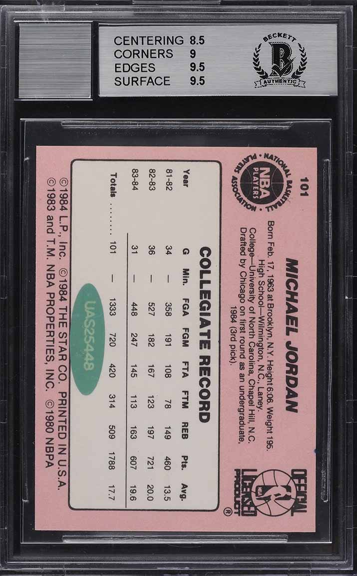 1984-85 Star Basketball Michael Jordan ROOKIE RC AUTO #101 BGS 9 MINT - Image 2