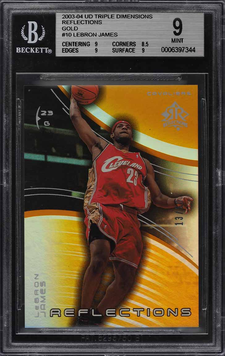 2003 Upper Deck Triple Dimensions Reflections Gold LeBron James ROOKIE /50 BGS 9 - Image 1