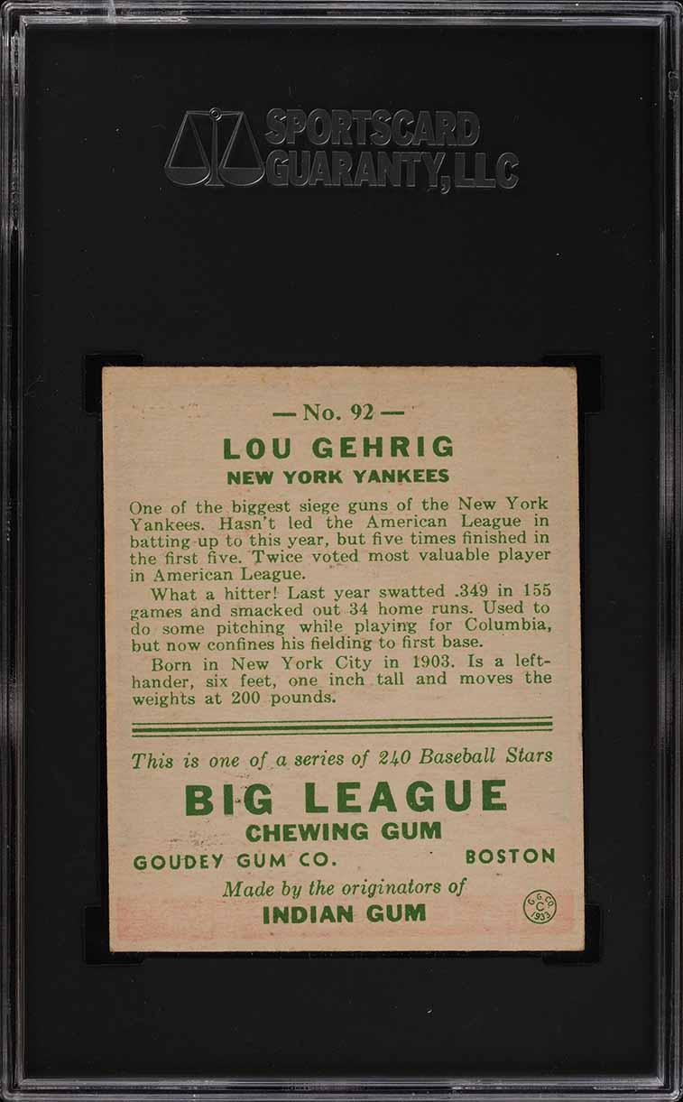 1933 Goudey Lou Gehrig #92 SGC 7 NRMT (PWCC) - Image 2