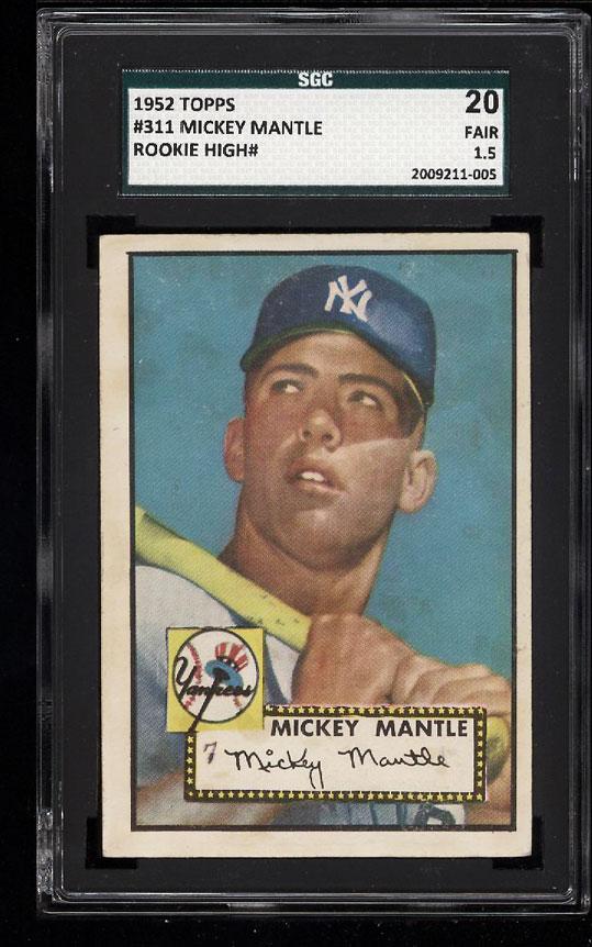 1952 Topps Mickey Mantle #311 SGC 20/1.5 FR (PWCC) - Image 1