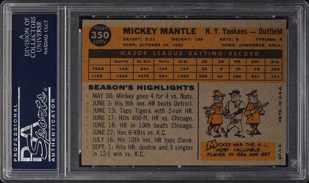 1960 Topps Mickey Mantle #350 PSA 6 EXMT - Image 2