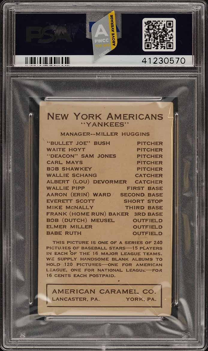 1922 E120 American Caramel Babe Ruth PSA 4 VGEX (PWCC-A) - Image 2