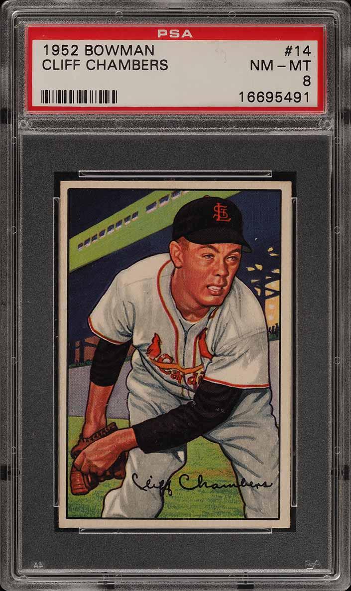 1952 Bowman SETBREAK Cliff Chambers #14 PSA 8 NM-MT (PWCC) - Image 1