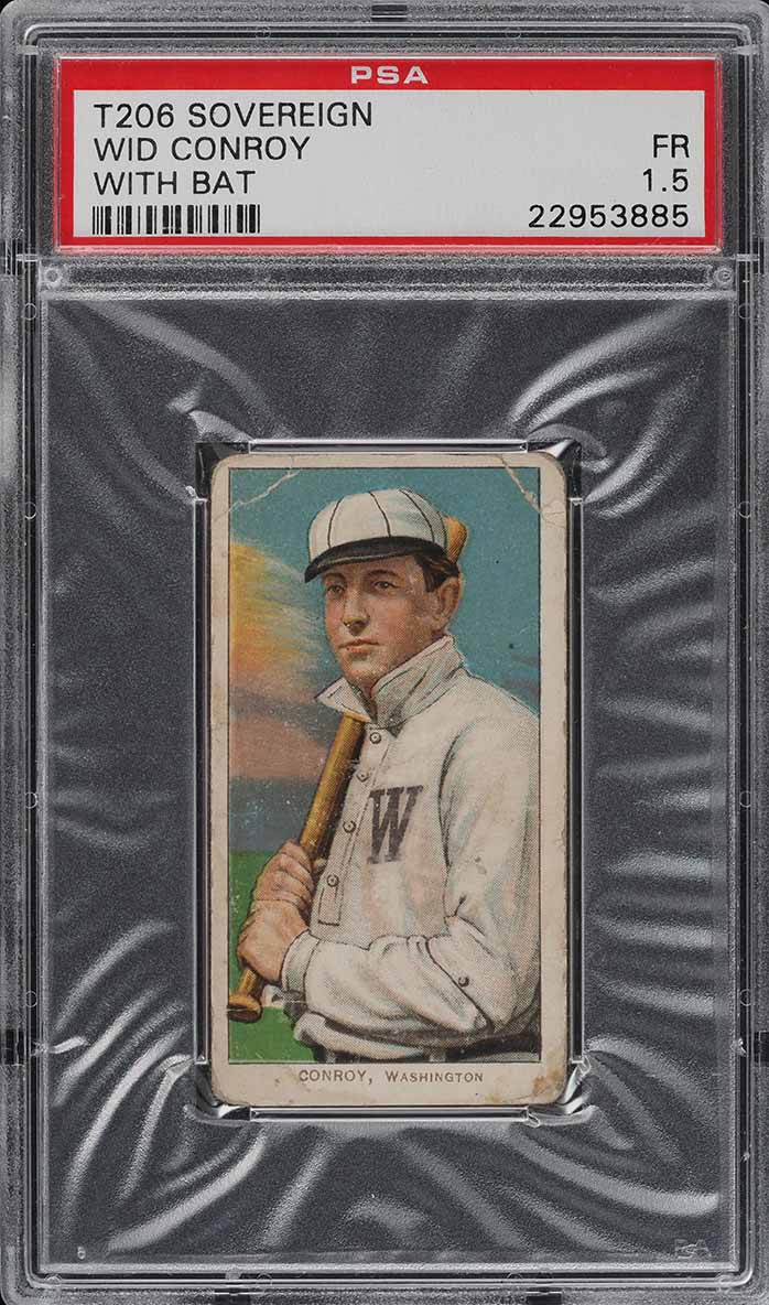 1909-11 T206 Wid Conroy WITH BAT, SOVEREIGN PSA 1.5 PR (PWCC) - Image 1