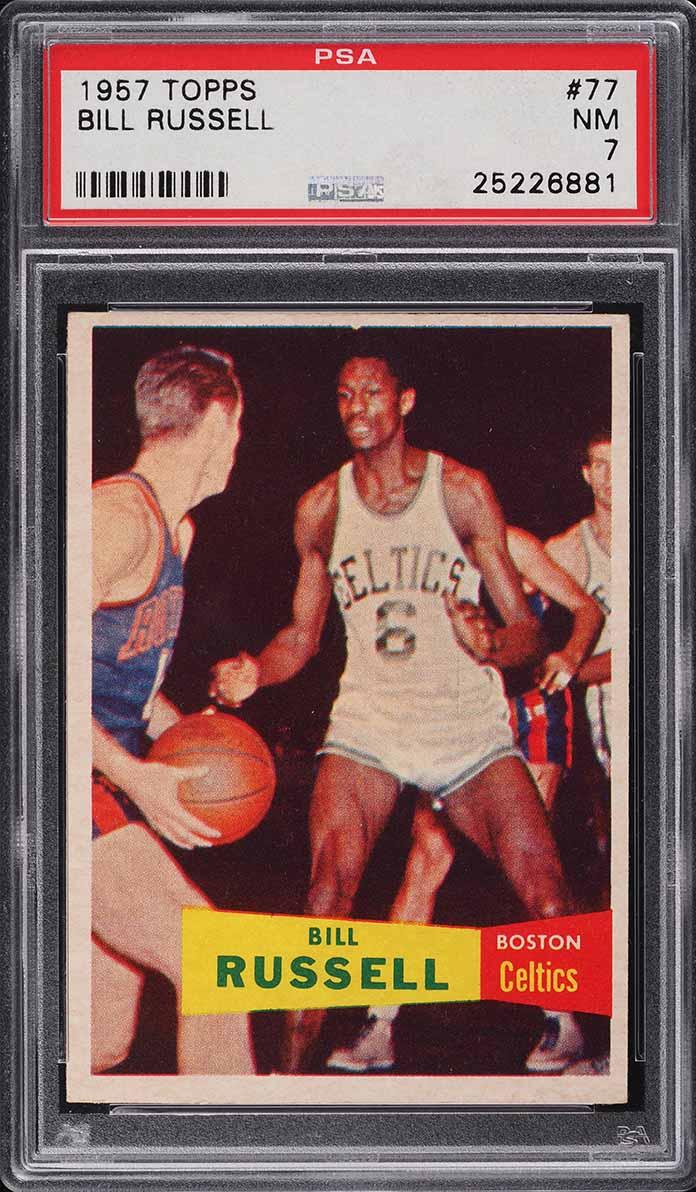 1957 Topps Basketball Bill Russell SP ROOKIE RC #77 PSA 7 NRMT - Image 1