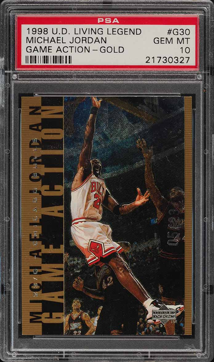 1998 UD MJ Living Legend Action Gold Michael Jordan /23 #G30 PSA 10 GEM (PWCC) - Image 1