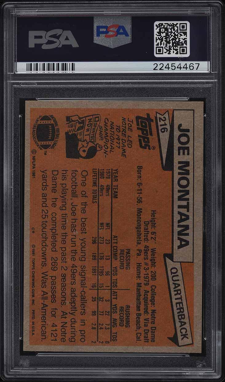 1981 Topps Football Joe Montana ROOKIE RC #216 PSA 10 GEM MINT - Image 2