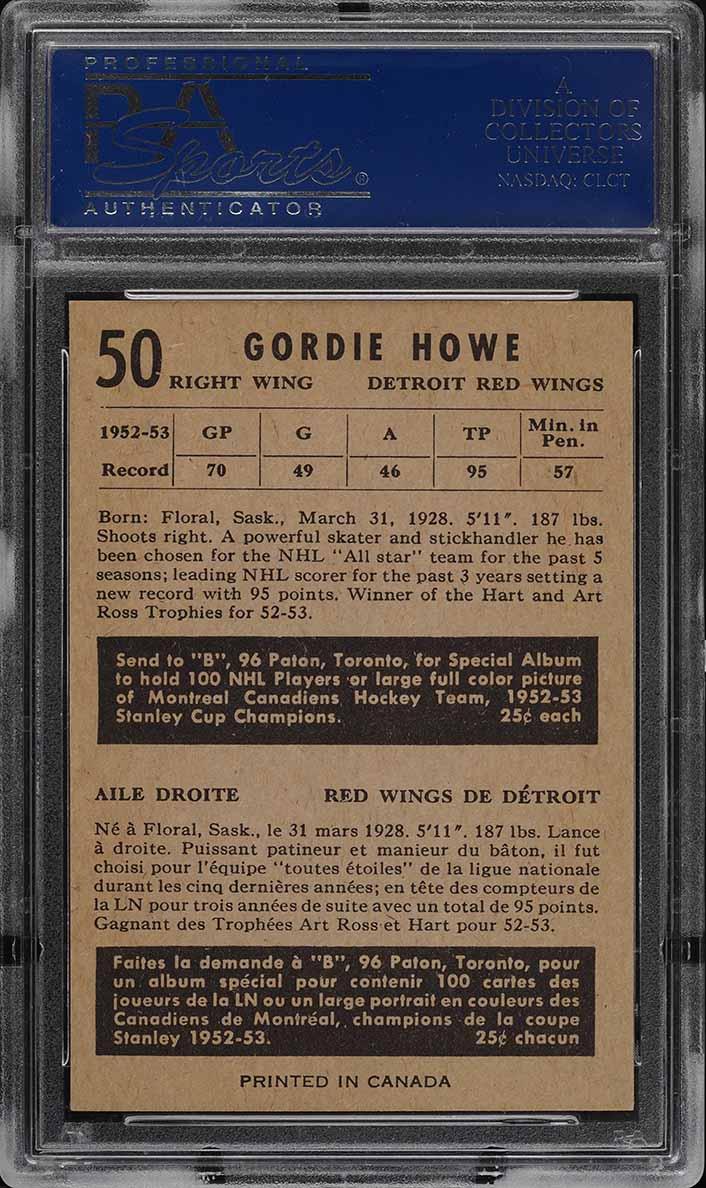1953 Parkhurst Gordie Howe #50 PSA 7 NRMT - Image 2