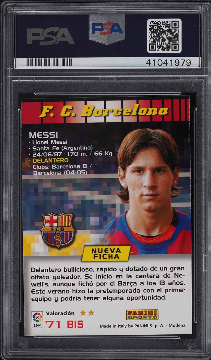 2004 Panini Sports Mega Cracks Lionel Messi ROOKIE RC #71 PSA 9 MINT - Image 2