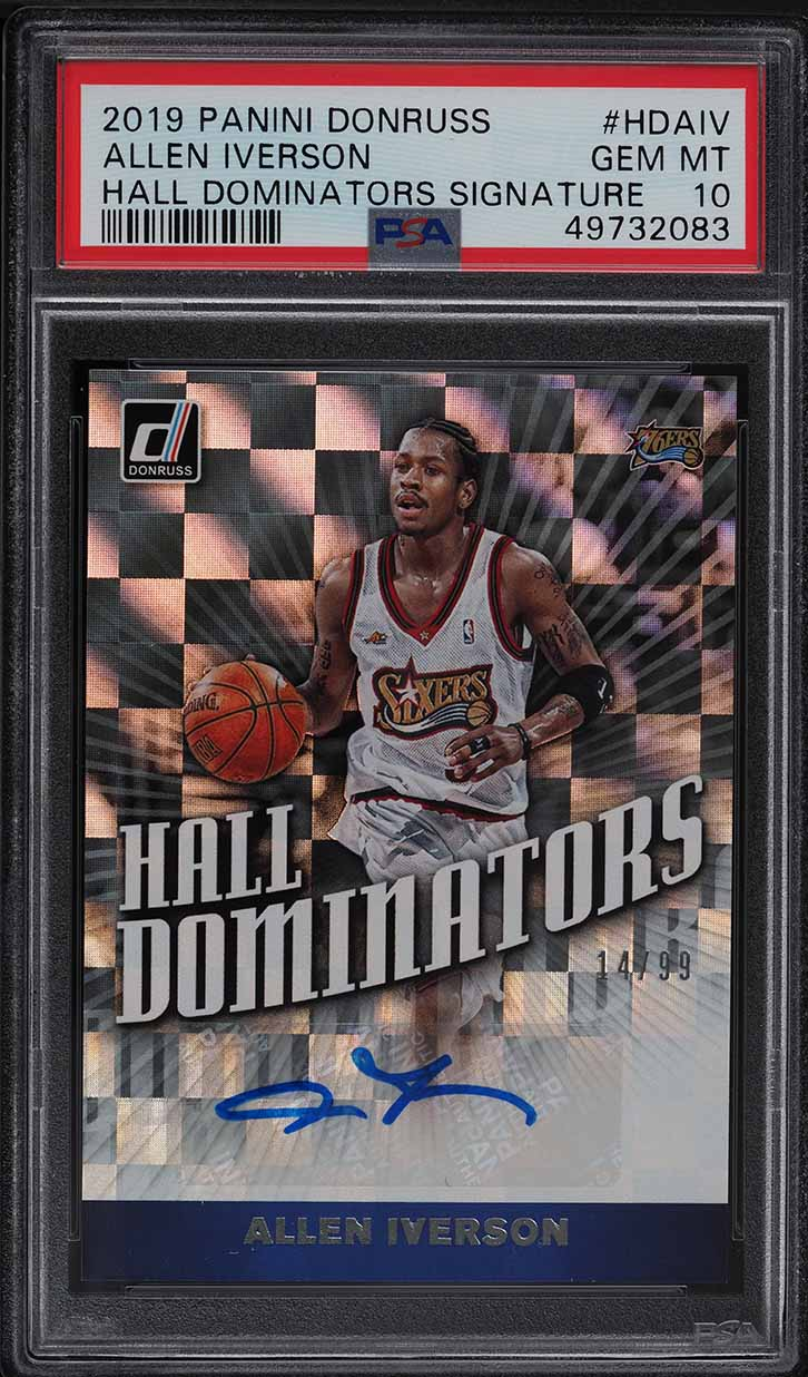 2019 Panini Donruss Hall Dominators Allen Iverson AUTO /99 PSA 10 GEM MINT - Image 1