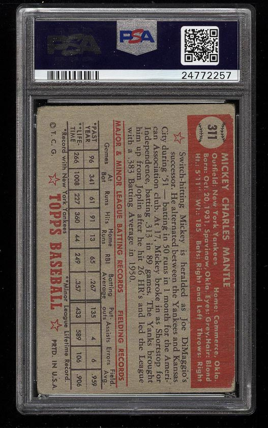 1952 Topps Mickey Mantle #311 PSA 1.5 FR (PWCC) - Image 2
