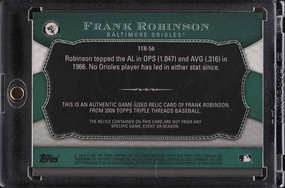 2009 Topps Triple Threads Frank Robinson PATCH /18 #TTR-56 - Image 2
