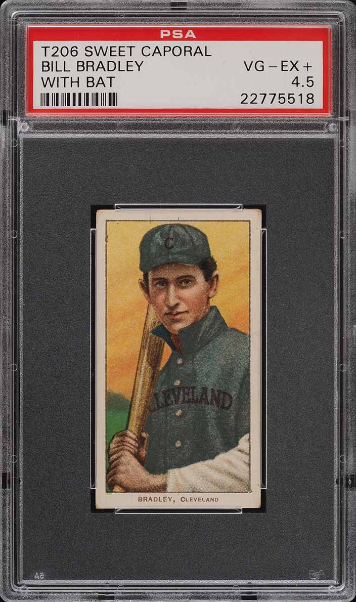 1909-11 T206 SETBREAK Bill Bradley WITH BAT PSA 4.5 VGEX+ (PWCC) - Image 1