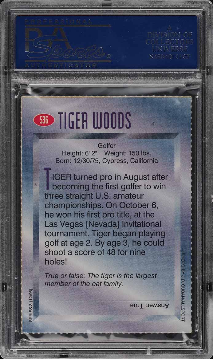1996 Sports Illustrated For Kids Tiger Woods ROOKIE RC PSA 10 GEM MINT (PWCC) - Image 2