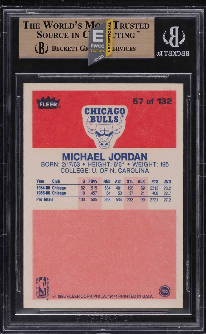 1986 Fleer Basketball Michael Jordan ROOKIE RC #57 BGS 9.5 GEM MINT (PWCC-E) - Image 2