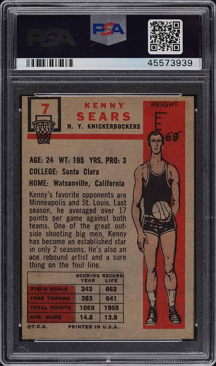 1957 Topps Basketball Kenny Sears #7 PSA 8 NM-MT (PWCC) - Image 2