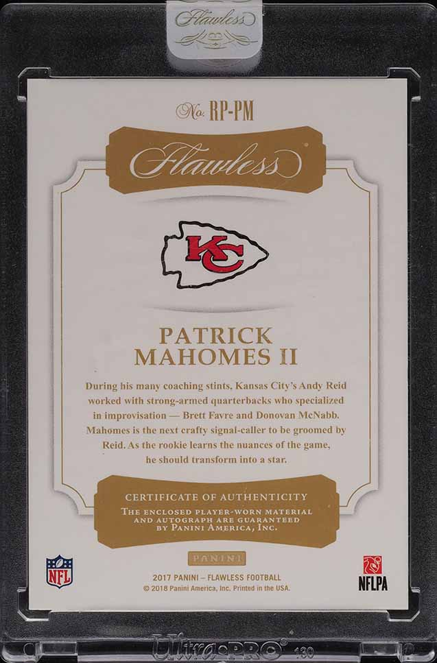 2017 Panini Flawless Patrick Mahomes ROOKIE RC PATCH AUTO /25 #RP-PM - Image 2