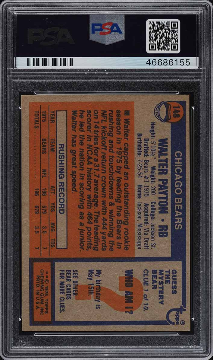 1976 Topps Football Walter Payton ROOKIE RC #148 PSA 10 GEM MINT (PWCC) - Image 2