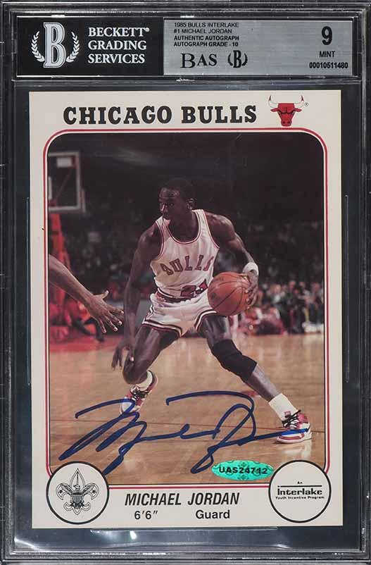 1985 Bulls Interlake Michael Jordan ROOKIE RC SIGNED AUTO BAS BGS 9, UDA (PWCC) - Image 1