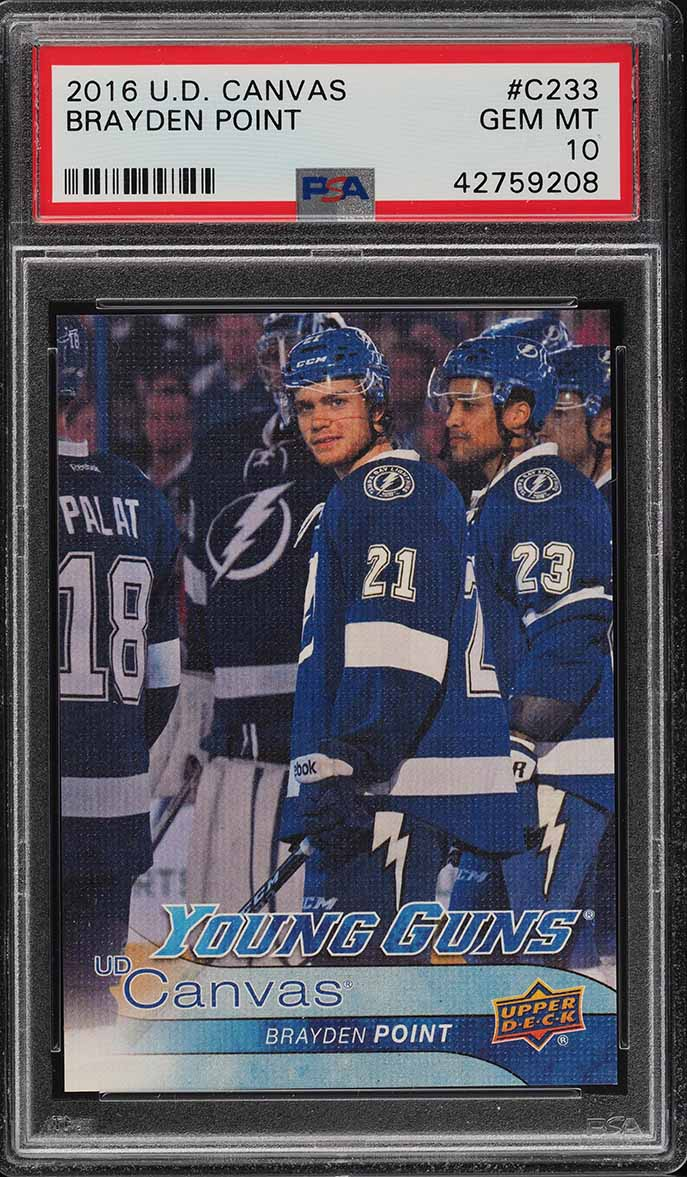 2016 Upper Deck Young Guns Canvas Brayden Point ROOKIE RC #C233 PSA 10 (PWCC) - Image 1