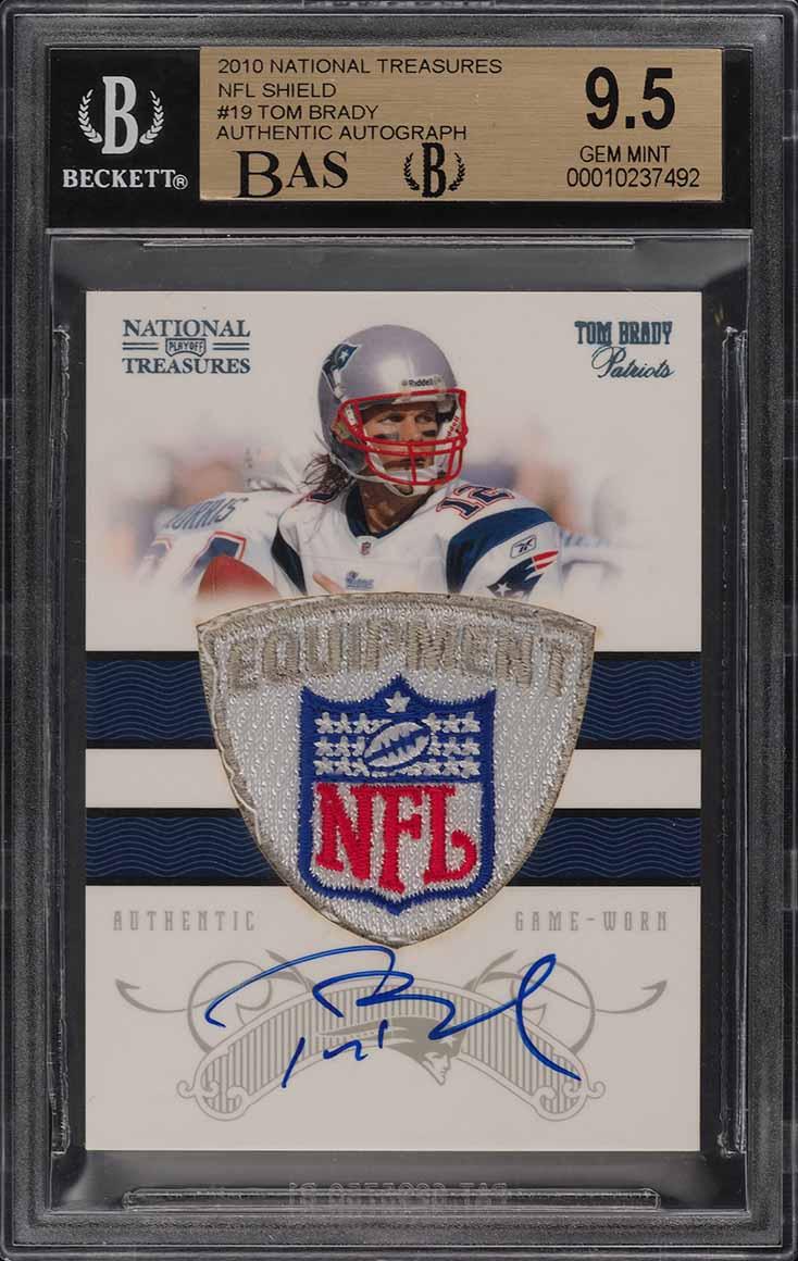 2010 National Treasures NFL Shield Tom Brady AUTO PATCH 1/1 BGS 9.5 GEM (PWCC) - Image 1