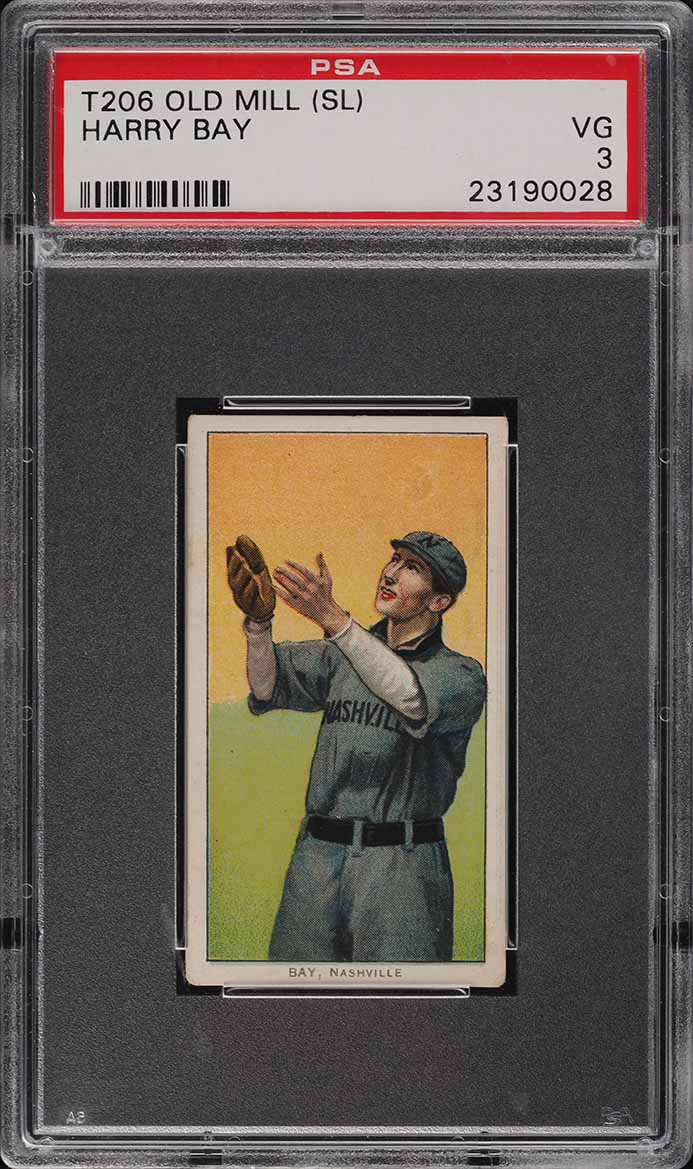 1909-11 T206 SETBREAK Harry Bay SOUTHERN LEAGUER, OLD MILL PSA 3 VG (PWCC-E) - Image 1