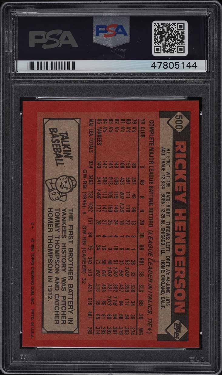 1986 Topps Rickey Henderson #500 PSA 9 MINT - Image 2
