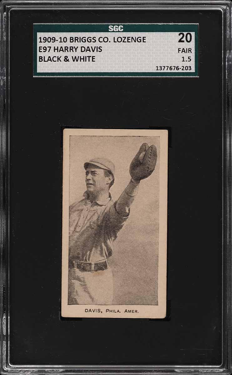 1909 E97 Briggs Lozenge Black & White Harry Davis SGC 1.5 FR (PWCC-A) - Image 1