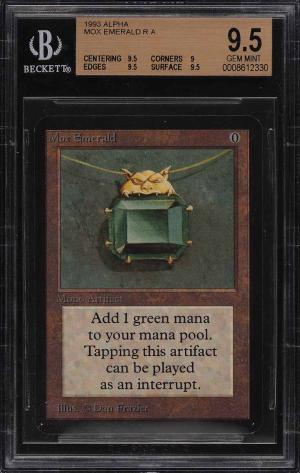1993 Magic The Gathering MTG Alpha Mox Emerald R A BGS 9.5 GEM MINT