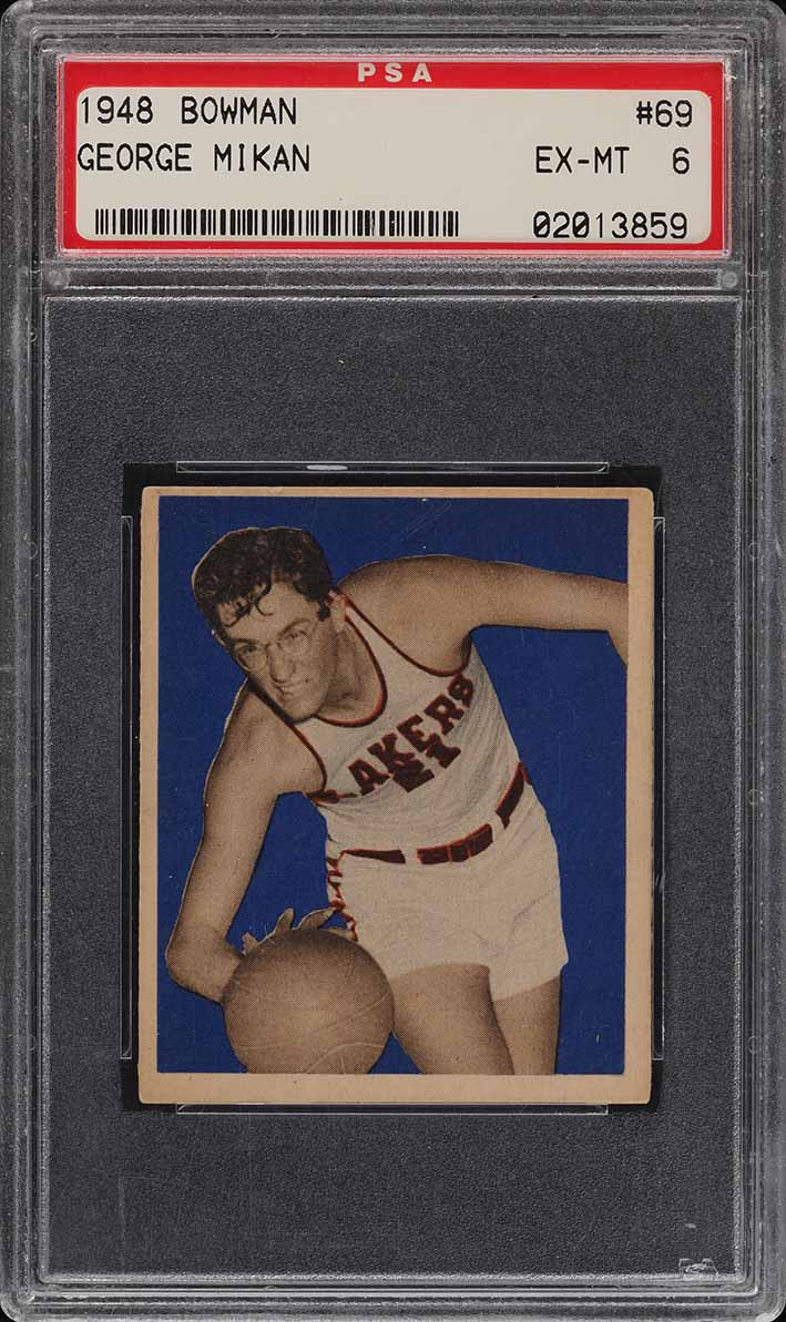 1948 Bowman Basketball George Mikan ROOKIE RC #69 PSA 6 EXMT (PWCC) - Image 1