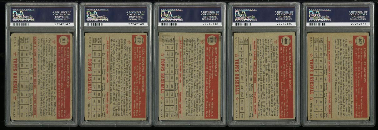 1952 Topps Lo-Mid Grd COMPLETE SET Mays Mathews Berra Robinson Mantle PSA (PWCC) - Image 2