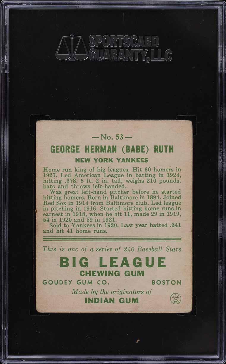 1933 Goudey Babe Ruth #53 SGC 3 VG (PWCC) - Image 2
