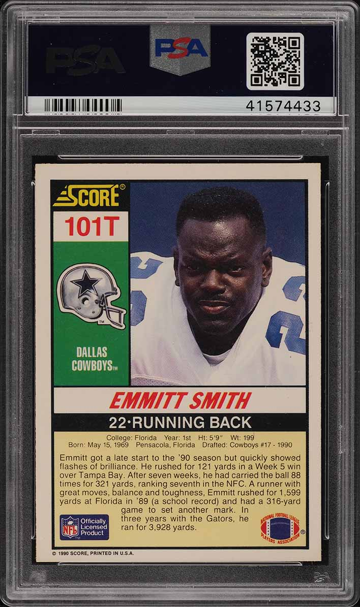 1990 Score Supplemental Emmitt Smith ROOKIE RC #101T PSA 10 GEM MINT (PWCC) - Image 2